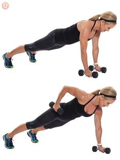 A) Begin in a full plank with dumbbells in hands, arms extended, and on toes. (kneeling variation is fine if you are not able to do a full plank) Engage your abdominals drawing the belly inward towards your spine. B) Pull one elbow up towards the ceiling hugging your side body feeling the back of your arm engage & return with dumbbell to the floor with control. Repeat on other side. Targets: triceps, core, back
