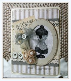 vintage dress form card from Polly's Paper Studio