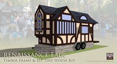 Timber Frame Tiny House with Tudor Split Timber Fachwerk Tiny House Kits, Tiny House Trailer, Tiny House Plans, Cabin Design, Cottage Design, Tiny House Design, Prefab Cabins, Prefab Homes, Little Houses On Wheels