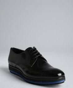 Prada black leather 'Derby' oxfords