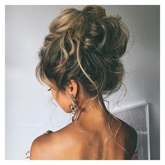 10 Pretty Messy Updos for Long Hair ❤ liked on Polyvore featuring hair