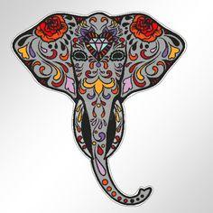 funny car bumper sticker SUGAR SKULL ELEPHANT Ganesh Day Of The Dead 96 mm decal