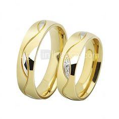Anillos de parejas amantes de la manera del acero inoxidable del oro 18K plateado (2 piezas) - USD $7.99