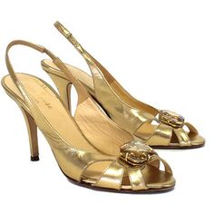 Pre-owned Kate Spade Cassidy Gold Jeweled Pumps