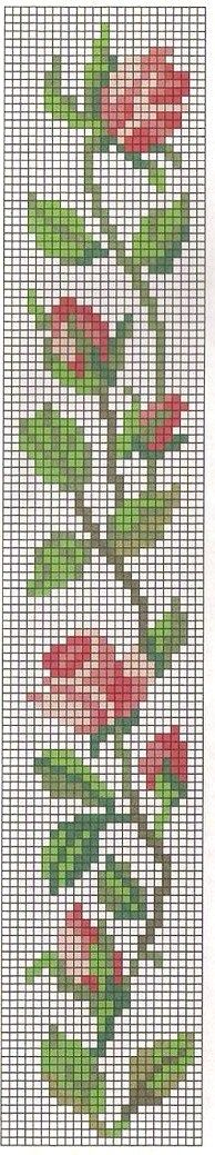 "This cross stitch pattern could be used for beading, on loom or heringbone stitch. ""Pinner said this which is so touching: Cross Stitch Rose Bookmark. Cross Stitch Bookmarks, Cross Stitch Rose, Cross Stitch Borders, Cross Stitch Flowers, Cross Stitch Charts, Cross Stitch Designs, Cross Stitching, Cross Stitch Embroidery, Cross Stitch Patterns"