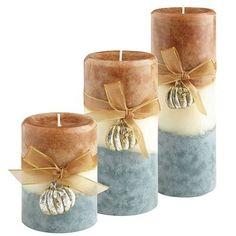 Sweet Pumpkin Layered Pillars - Pier 1 Imports - I need these! blue will go with my beach theme!