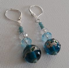 Blue stacked bead earrings