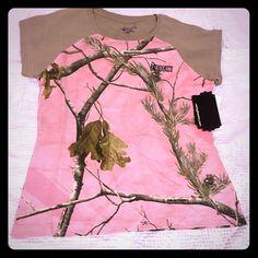 ROCKY pink camo shirt NWT. pink camo tee with tan sleeves Rocky Tops Tees - Short Sleeve