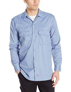 Dickies Men's Long Sleeve Work Shirt, Gulf Blue, X-Large