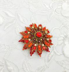 Large Flower BROOCH Vintage Multicolor Rhinestones by ESTATENOW