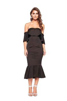 07ef663affb4 Black Off The Shoulder Ruffled Party Midi Dress Formal Cocktail Dress