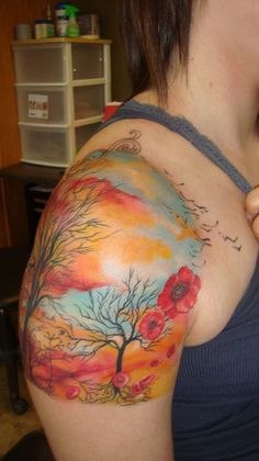 trees and clouds tattoo - 40 Awesome Cloud Tattoo Designs  <3 <3