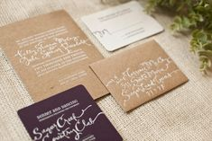Whimsical Hand Lettering Wedding Invitations