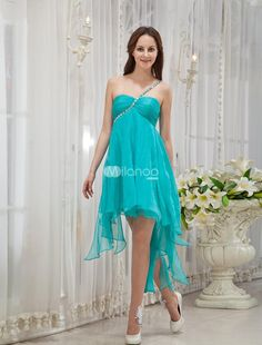 Green One-Shoulder Rhinestone Silk Prom Dress. Some dresses just scream summer so you know they are going to look great for warmer weather functions. This one would be a great choice for a beach venue or other outdoor event. It is made from a nice silk fabric .. . See More One Shoulder at http://www.ourgreatshop.com/One-Shoulder-C935.aspx