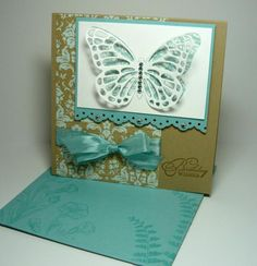 butterfly card by Stef Perry... like color combo and pp under butterfly... (change sentiment)