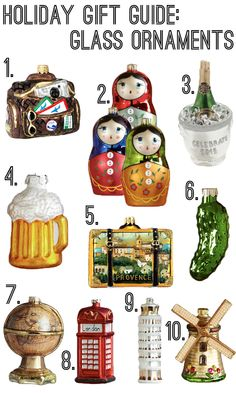 Holiday Gift Guide glass ornaments: Featuring Nordstrom and Cost Plus World Market ornaments!