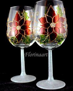 Vidrio de vino pintado flor de Pascua, poinsettia rojo vino vasos, copas de vino de Navidad, invierno copas de vino, brindis de Navidad