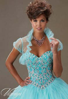 Quinceanera Dress Vizcaya Morilee 89076 Sugar coated stones on a tulle ball  gown Colors  Aqua a0076711e954