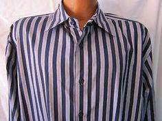 Ben Sherman Mens Long Sleeve Casual Shirt Grey Black Stripe Size 4 XL
