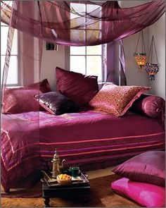 Pretty pink moroccan themed bedroom