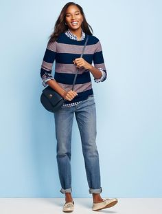Tuck-Stitched Sweater-Blocked Stripes - Talbots