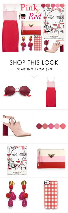 """pink and red! #trend"" by jasmimbonlevour ❤ liked on Polyvore featuring Ray-Ban, Staud, Jaggar, Kjaer Weis, Kevyn Aucoin, Gucci, Lizzie Fortunato, Casetify and Bobbi Brown Cosmetics"