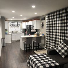 Black and White Buffalo Check Curtains Farmhouse Plaid - 24 Width and 50 Width Options -Rod Pocket - Options For Cotton or Blackout Lining Plaid Curtains, Drapes Curtains, Cotton Curtains, Buffalo Check Curtains, Silo House, Farm House, Camper Hacks, Camper Makeover, Camper Renovation