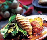 Lantbröd med salsa och grillad kyckling