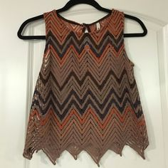 Multicolor Pattern Crop Top Never worn without tags Mind Code Tops Crop Tops