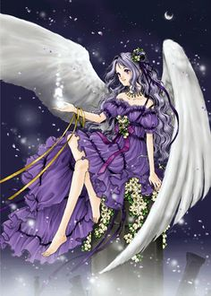 Angel with long wavy lavender hair, white feather wings, purple dress, & yellow flowers by manga artist Shiitake.
