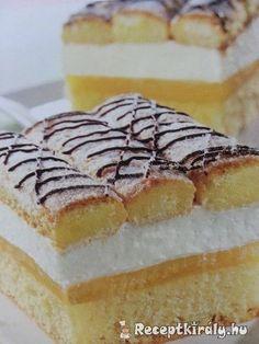 Tejszínes piskótás szeletHozzávalók:5 egész tojás 30 dkg puha margarin 1 cs. vaníliás cukor 20 dkg cukor 1 citrom leve, és reszelt héja 30 dkg liszt 1 cs. sütőporA krémhez:5 dl narancslé 2 cs. vaníliás pudingpor 6 Bread Dough Recipe, Sweet And Salty, Macarons, Tiramisu, Cheesecake, Food And Drink, Sweets, Cookies, Ethnic Recipes