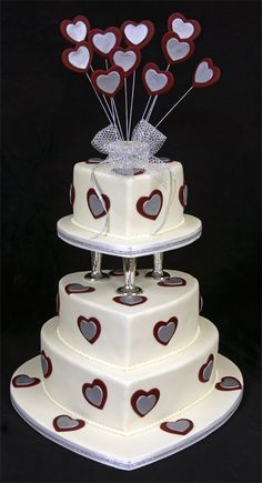 Are you interested in Heart Shape Wedding Cakes? Here's a complete Heart Shape Wedding Cakes guide with additional tips and tricks, for FREE! Heart Shaped Wedding Cakes, Wedding Cakes With Cupcakes, Wedding Cake Toppers, Cupcake Cakes, Beautiful Cakes, Amazing Cakes, Different Kinds Of Cakes, Wedding Anniversary Cakes, Heart Cakes