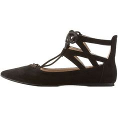 Charlotte Russe Black Lace-Up Ankle Cuff Pointy Toe Flats by Charlotte... (34 CAD) ❤ liked on Polyvore featuring shoes, flats, black, lace up shoes, lace up flats, flat pointed-toe shoes, cutout flats and pointy toe flats