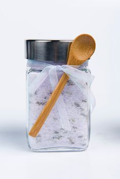 Bath Salts, Sea Salt, Scented- 1 jar, 10 oz. $13.00, via Etsy.  Available in 5 different scents, all heavenly.  This jar is filled with Therapeutic Lavender Salts.  I can't resist the cute bamboo spoon!