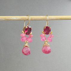 Rose boucles d'oreilles zircon cubique Pink Angel par yifatbareket