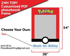 Pokemon photo booth frame Pokemon go birthday party favor