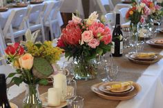 Jars make a fun and inexpensive vessel for your florals