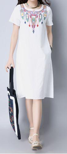 Women loose fit plus size ethnic tribal flower dress pocket tunic Bohemian Boho