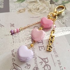 Heart macaron planner charm/purse charm  heart by mahalmade