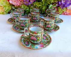 9 Vintage Chinese Famille Rose Medallion Porcelain Cups & Saucers #MadeInChina