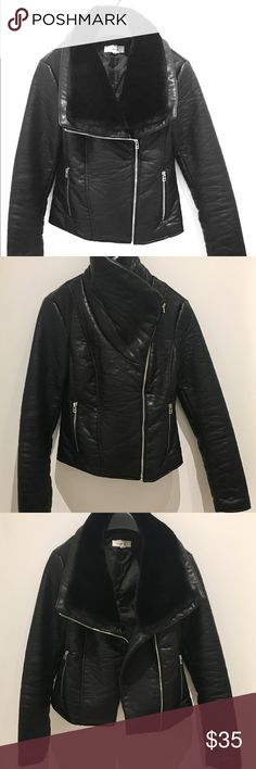 ... Faux Leather   Faux Fur Trim Black faux leather moto jacket with faux  fur trim. Perfect for fall and between season weather. Long sleeves help  keep cold ... 134caa96445c5