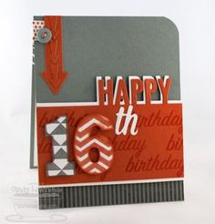 Happy 16th! Beautiful birthday card made by Cindy Lawrence aka One happy stamper.