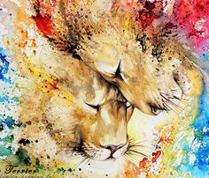 Lion Love, Watercolor painting by French artist Louise Terrier | No. 563