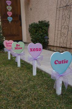 Valentine's Day Conversation Candy Heart Yard Decor by LollipopsGalore on Etsy https://www.etsy.com/listing/265179266/valentines-day-conversation-candy-heart