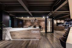 Office Tour: Lamett Office – Shanghai, Office Tour: Lamett Office – Shanghai, You can find Shanghai and more on our website. Modern Reception Area, Office Reception Design, Reception Counter, Office Entrance, Entrance Design, Office Lobby, Corporate Interiors, Office Interiors, Lobby Design