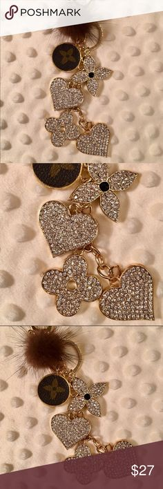 NWOT Rhinestone Clover-Inspired & ❤️ Keychain! BRAND NEW Glitzy & Glam Rhinestone-studded Clover and ❤️ Keychain/Bag Charm!  Black enamel on the charm backs! Includes a Small Brown Genuine Mink Pom Pom Bauble! Made with Gold Tone Lobster Claw Clasp & Jump Ring. All the keychains I'm offering are great quality & have been embellished, making them CUSTOM. The round UPCYCLED Charm is made from authentic material, creating a gorgeous one-of-a-kind purse accessory! From non-smoking home…