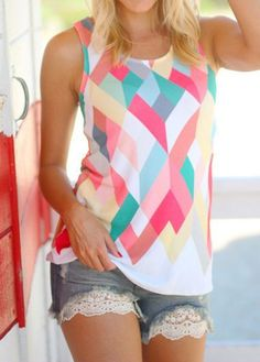 Women Tank Top Summer Loose Geometry Printing Vest Sleeveless Tank Tops T-Shirt Colete Feminino Tops Bonitos, Printed Tank Tops, Cute Tops, Trending Outfits, Vest, T Shirts For Women, Clothes, Geometry, Ebay