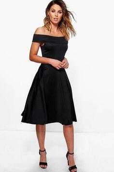 af69f2275f12 boohoo Romi Off The Shoulder Midi Skater Dress Midi Skater Dress, Black Midi  Dress,