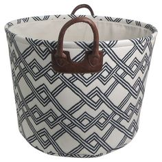 Round Fabric Basket with Handles - White with Geometric Pattern - Threshold™ : Target $16.99