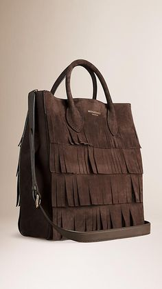 Dark chocolate The Carryall in Tiered Suede Fringe - Image 3